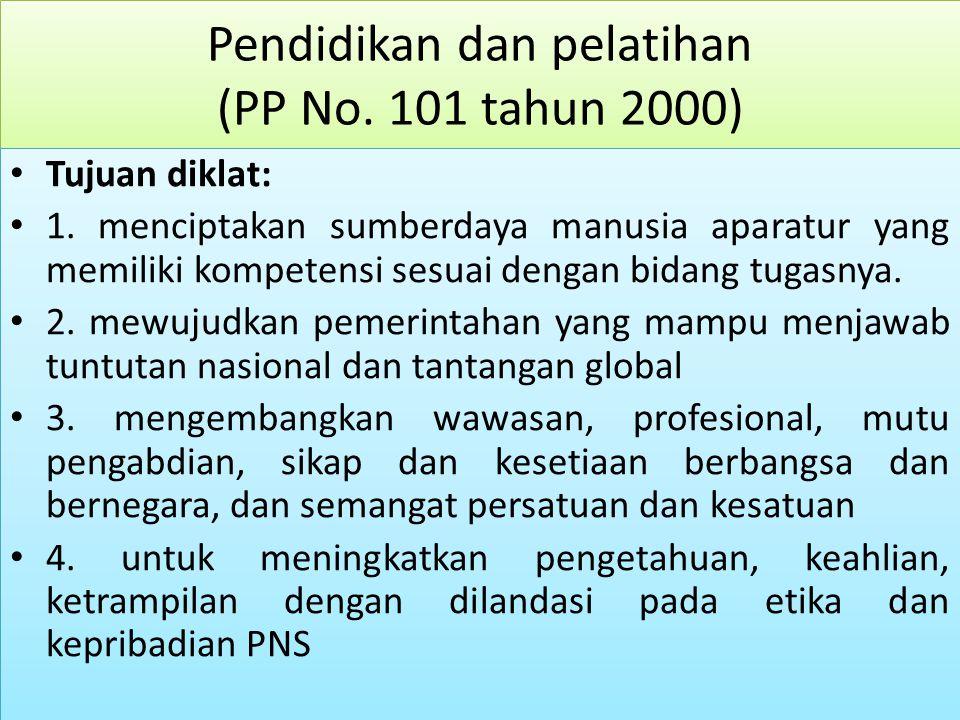 Pendidikan dan pelatihan (PP No. 101 tahun 2000) Tujuan diklat: 1.