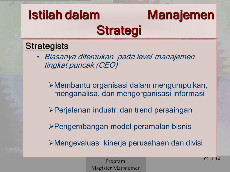 © 2001 Prentice Hall Ch. 1-14 Istilah dalam Manajemen Strategi Strategists Biasanya ditemukan pada level manajemen tingkat puncak (CEO)  Membantu org