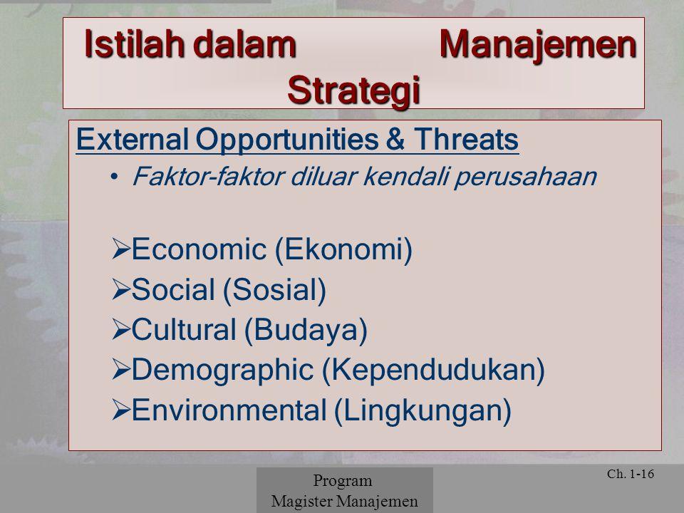 © 2001 Prentice Hall Ch. 1-16 External Opportunities & Threats Faktor-faktor diluar kendali perusahaan  Economic (Ekonomi)  Social (Sosial)  Cultur
