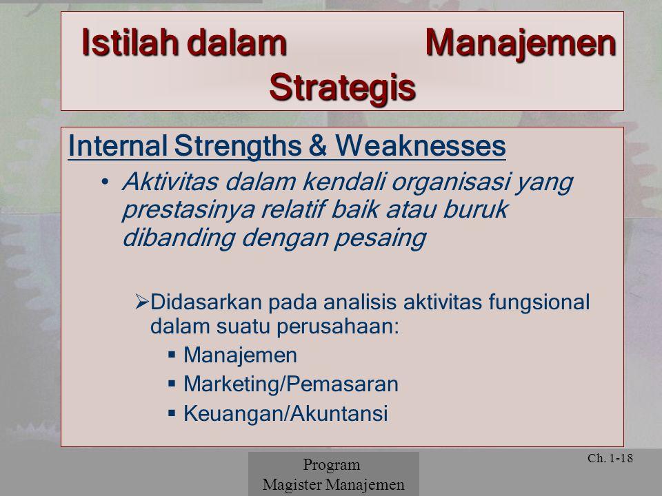 © 2001 Prentice Hall Ch. 1-18 Internal Strengths & Weaknesses Aktivitas dalam kendali organisasi yang prestasinya relatif baik atau buruk dibanding de