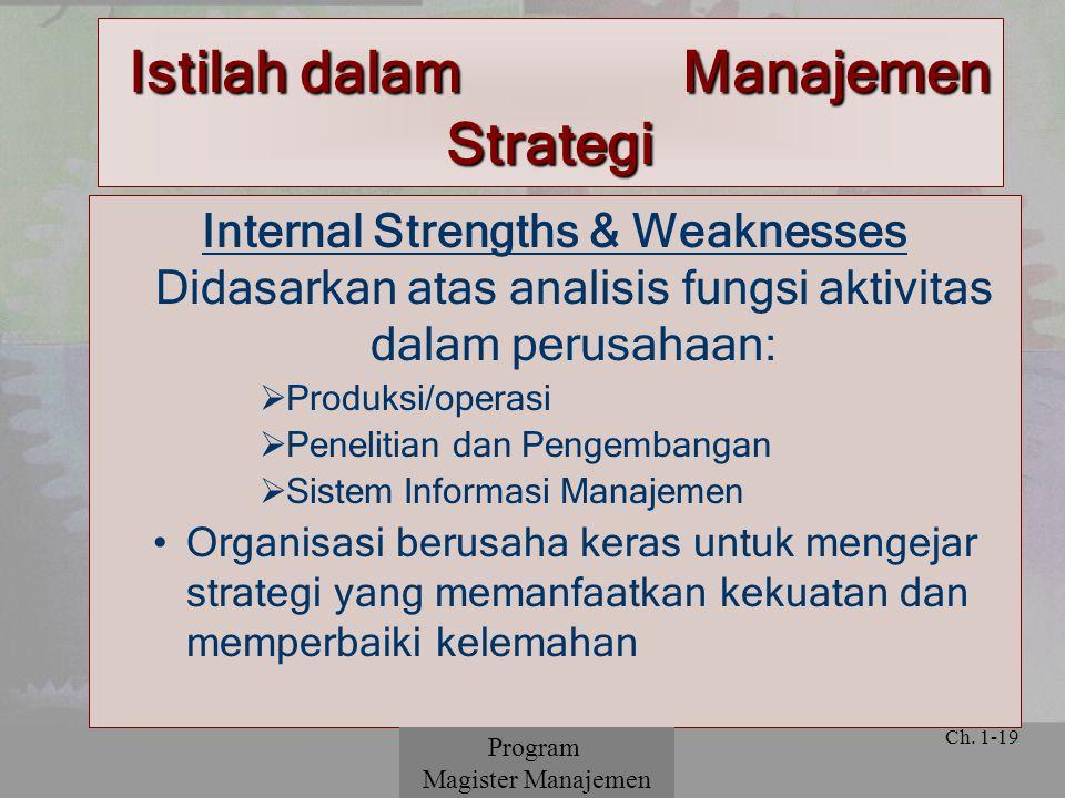 © 2001 Prentice Hall Ch. 1-19 Internal Strengths & Weaknesses Didasarkan atas analisis fungsi aktivitas dalam perusahaan:  Produksi/operasi  Penelit
