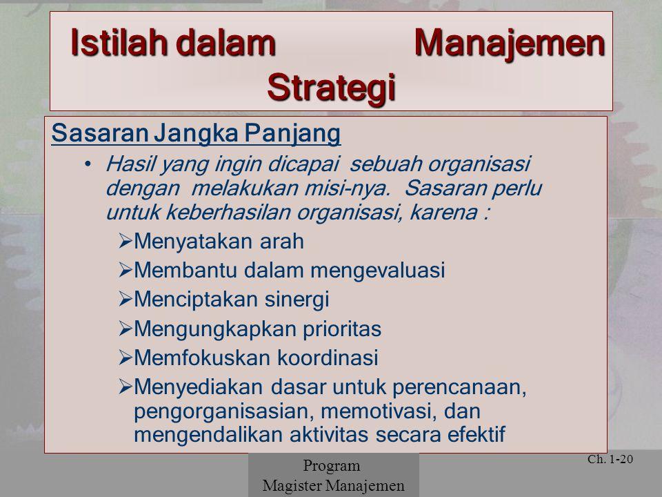 © 2001 Prentice Hall Ch. 1-20 Sasaran Jangka Panjang Hasil yang ingin dicapai sebuah organisasi dengan melakukan misi-nya. Sasaran perlu untuk keberha