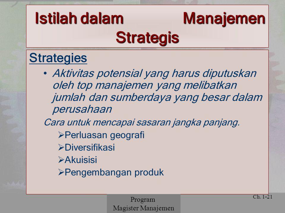 © 2001 Prentice Hall Ch. 1-21 Strategies Aktivitas potensial yang harus diputuskan oleh top manajemen yang melibatkan jumlah dan sumberdaya yang besar