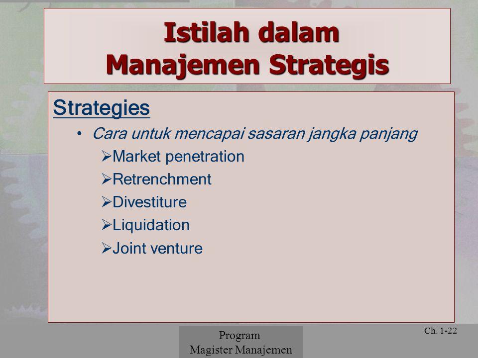 © 2001 Prentice Hall Ch. 1-22 Strategies Cara untuk mencapai sasaran jangka panjang  Market penetration  Retrenchment  Divestiture  Liquidation 