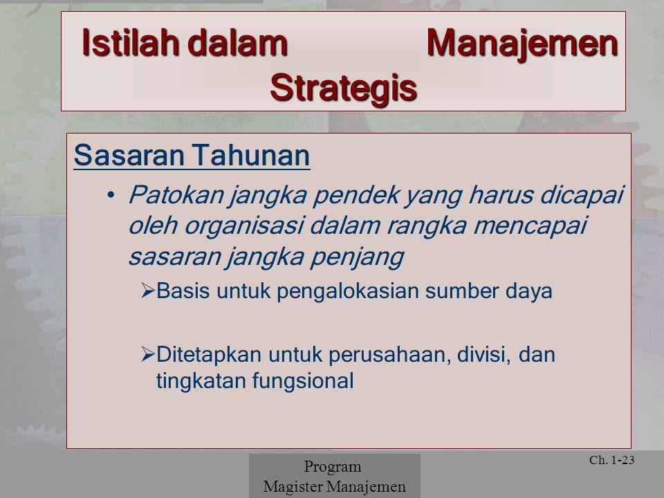 © 2001 Prentice Hall Ch. 1-23 Sasaran Tahunan Patokan jangka pendek yang harus dicapai oleh organisasi dalam rangka mencapai sasaran jangka penjang 