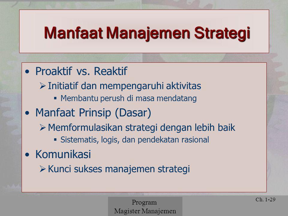 © 2001 Prentice Hall Ch. 1-29 Proaktif vs. Reaktif  Initiatif dan mempengaruhi aktivitas  Membantu perush di masa mendatang Manfaat Prinsip (Dasar)