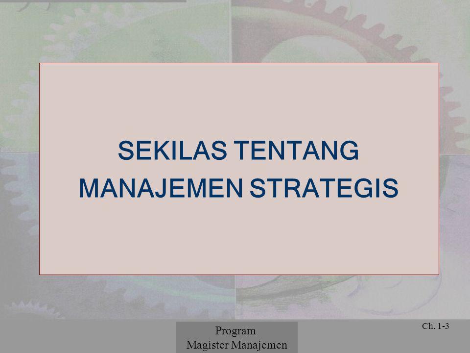 © 2001 Prentice Hall Ch. 1-3 SEKILAS TENTANG MANAJEMEN STRATEGIS Program Magister Manajemen