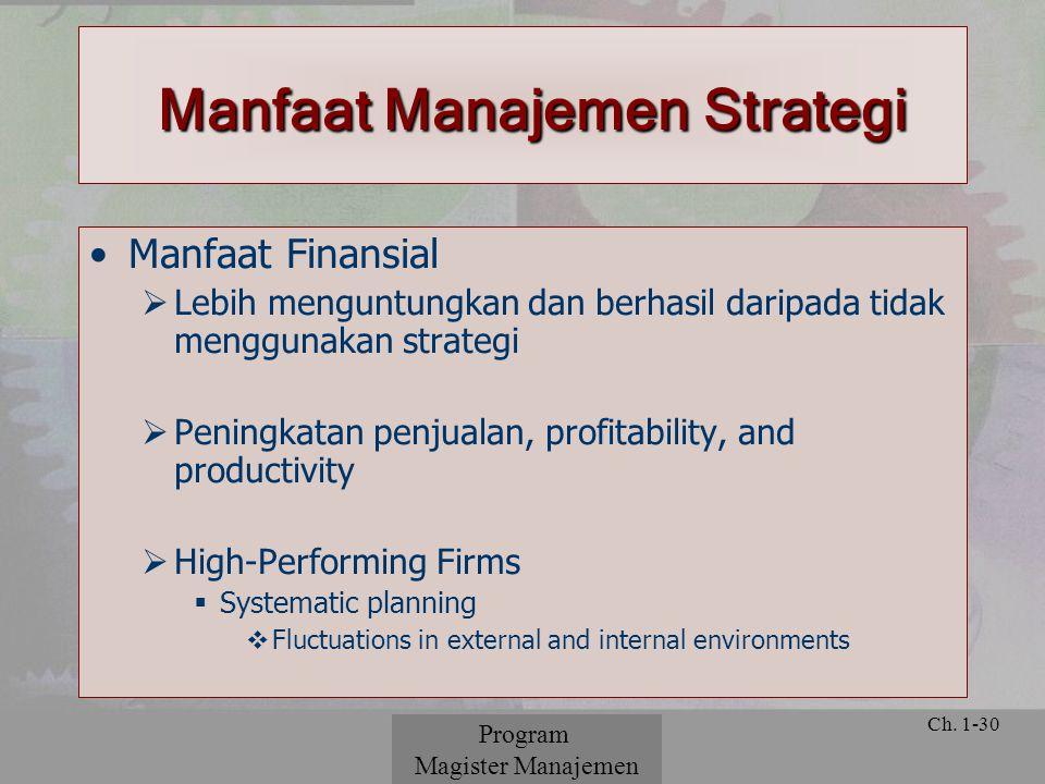 © 2001 Prentice Hall Ch. 1-30 Manfaat Finansial  Lebih menguntungkan dan berhasil daripada tidak menggunakan strategi  Peningkatan penjualan, profit