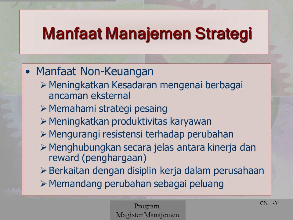 © 2001 Prentice Hall Ch. 1-31 Manfaat Non-Keuangan  Meningkatkan Kesadaran mengenai berbagai ancaman eksternal  Memahami strategi pesaing  Meningka