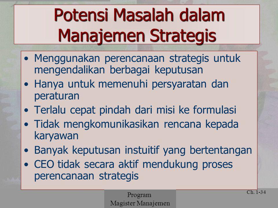 © 2001 Prentice Hall Ch. 1-34 Menggunakan perencanaan strategis untuk mengendalikan berbagai keputusan Hanya untuk memenuhi persyaratan dan peraturan