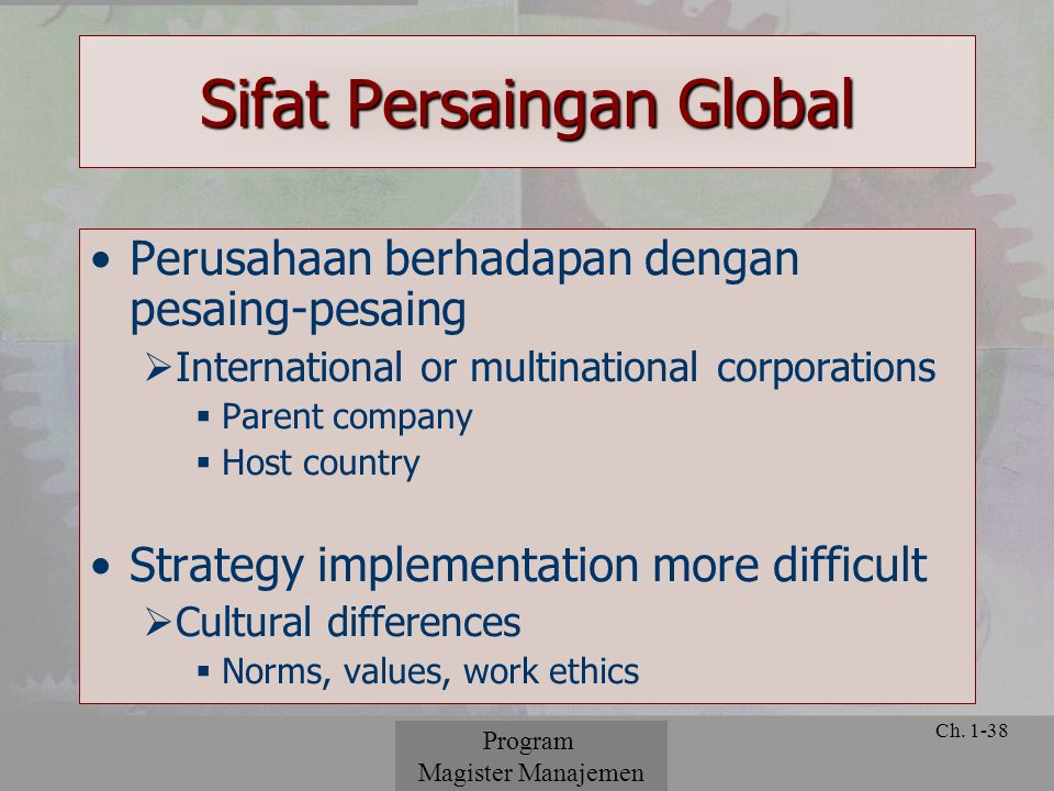 © 2001 Prentice Hall Ch. 1-38 Sifat Persaingan Global Perusahaan berhadapan dengan pesaing-pesaing  International or multinational corporations  Par