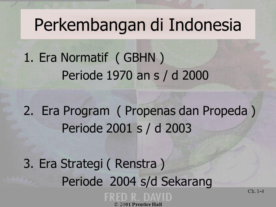 Perkembangan di Indonesia 1.Era Normatif ( GBHN ) Periode 1970 an s / d 2000 2. Era Program ( Propenas dan Propeda ) Periode 2001 s / d 2003 3.Era Str