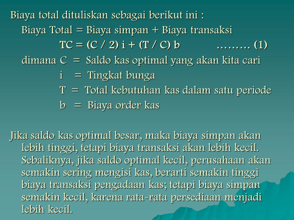 Biaya total dituliskan sebagai berikut ini : Biaya Total = Biaya simpan + Biaya transaksi TC = (C / 2) i + (T / C) b……… (1) TC = (C / 2) i + (T / C) b