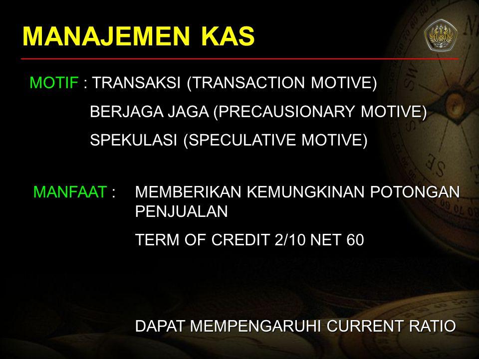MANAJEMEN KAS MOTIF : TRANSAKSI (TRANSACTION MOTIVE) BERJAGA JAGA (PRECAUSIONARY MOTIVE) SPEKULASI (SPECULATIVE MOTIVE) MANFAAT : MEMBERIKAN KEMUNGKIN