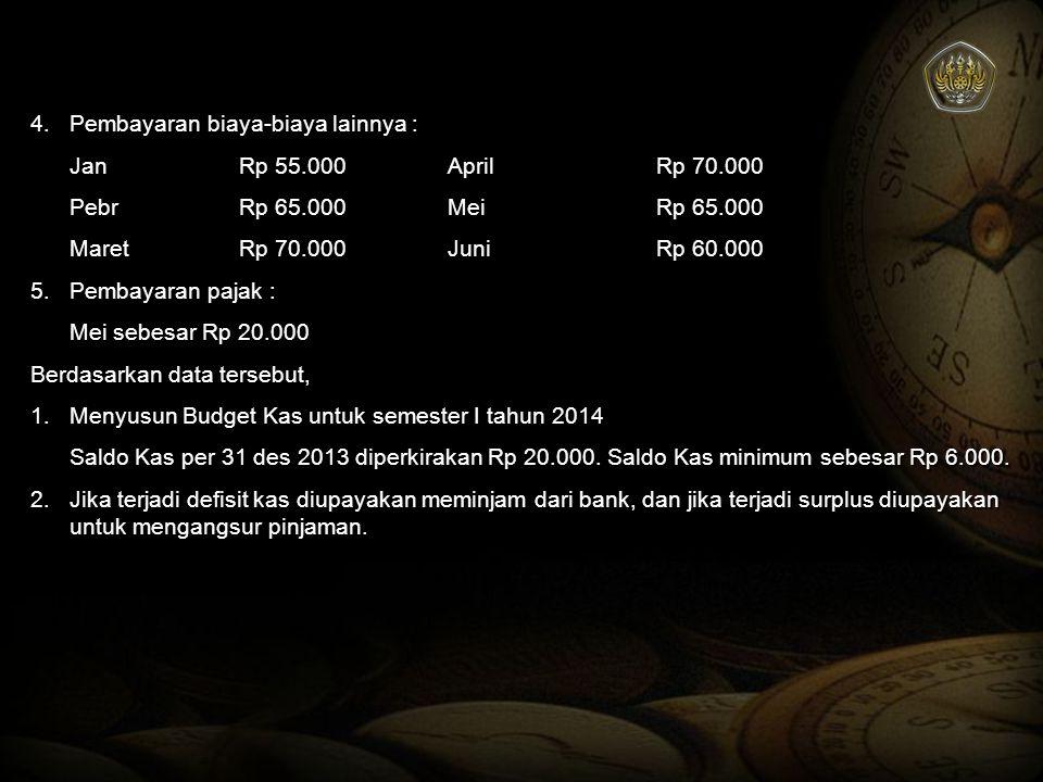 4.Pembayaran biaya-biaya lainnya : JanRp 55.000AprilRp 70.000 PebrRp 65.000MeiRp 65.000 MaretRp 70.000JuniRp 60.000 5.Pembayaran pajak : Mei sebesar R