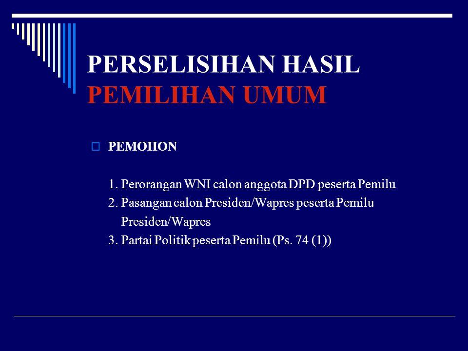 PERSELISIHAN HASIL PEMILIHAN UMUM PPEMOHON 1.Perorangan WNI calon anggota DPD peserta Pemilu 2.