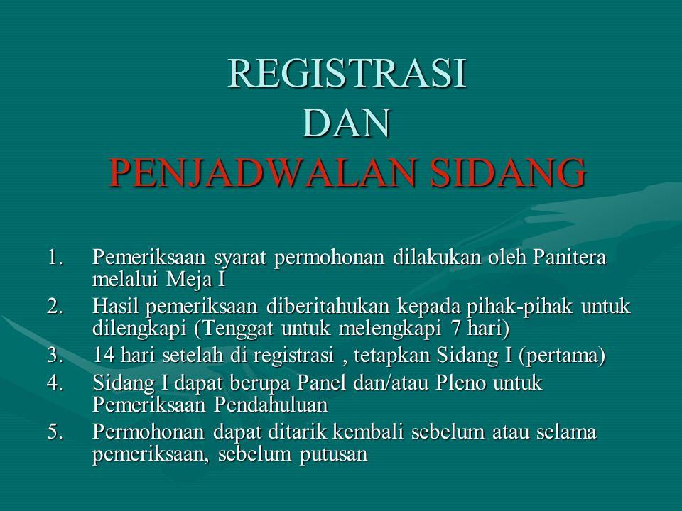 REGISTRASI DAN PENJADWALAN SIDANG 1.Pemeriksaan syarat permohonan dilakukan oleh Panitera melalui Meja I 2.Hasil pemeriksaan diberitahukan kepada piha