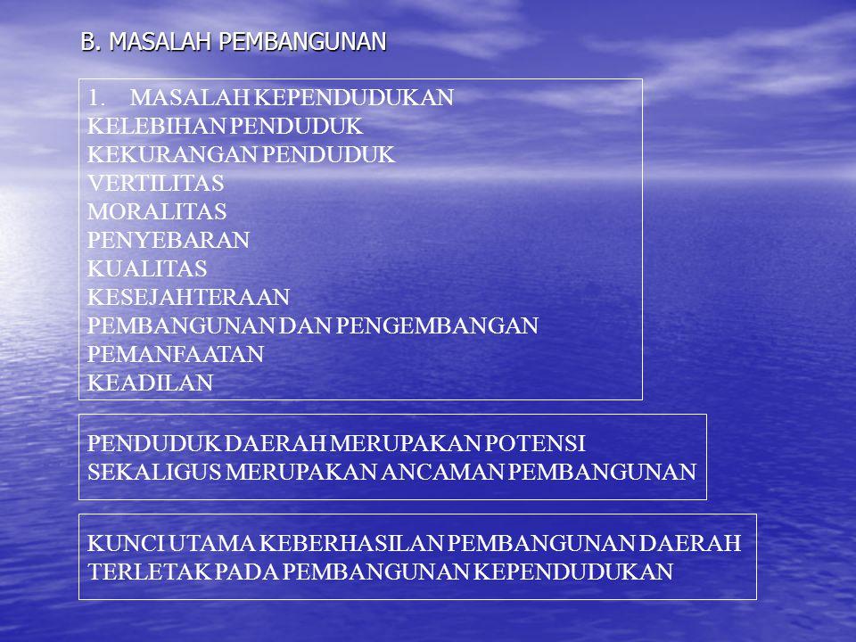 B. MASALAH PEMBANGUNAN 1.MASALAH KEPENDUDUKAN KELEBIHAN PENDUDUK KEKURANGAN PENDUDUK VERTILITAS MORALITAS PENYEBARAN KUALITAS KESEJAHTERAAN PEMBANGUNA