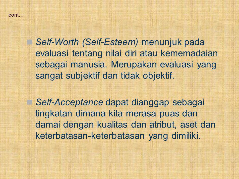 Cont… Self Identity adalah bagaimana kita mendefinisikan dan menggambarkan diri kita sendiri dan membedakan diri kita dengan orang lain.