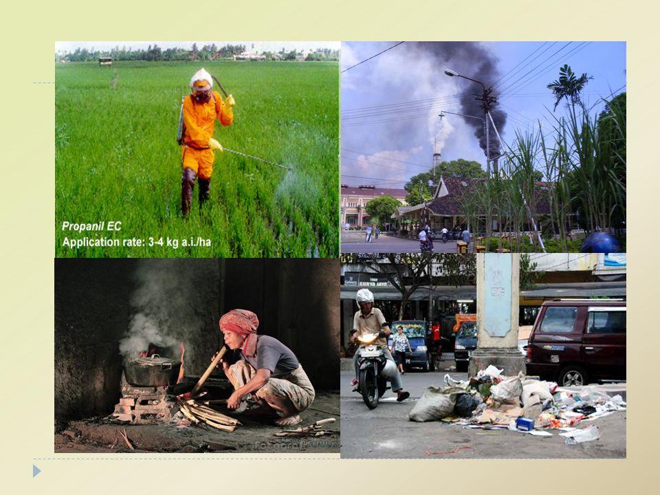 Belerang Oksida (SO X )  Berasal dari pembakaran batu bara, minyak bumi, kilang minyak, industri logam dll.