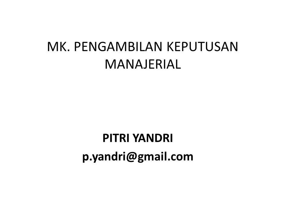 MK. PENGAMBILAN KEPUTUSAN MANAJERIAL PITRI YANDRI p.yandri@gmail.com