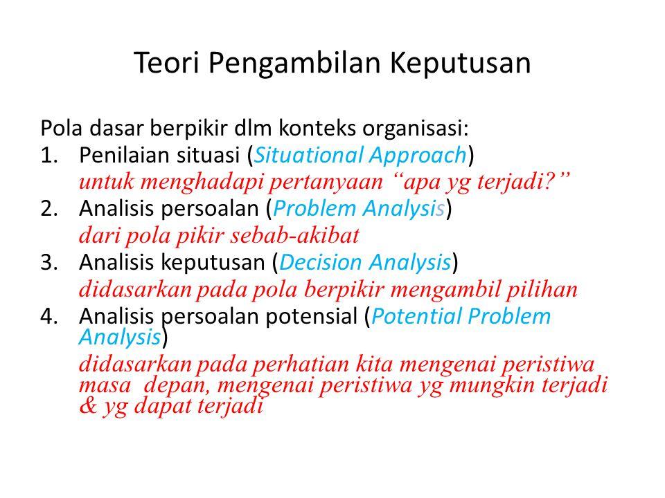"""Pola dasar berpikir dlm konteks organisasi: 1.Penilaian situasi (Situational Approach) untuk menghadapi pertanyaan """"apa yg terjadi?"""" 2.Analisis persoa"""