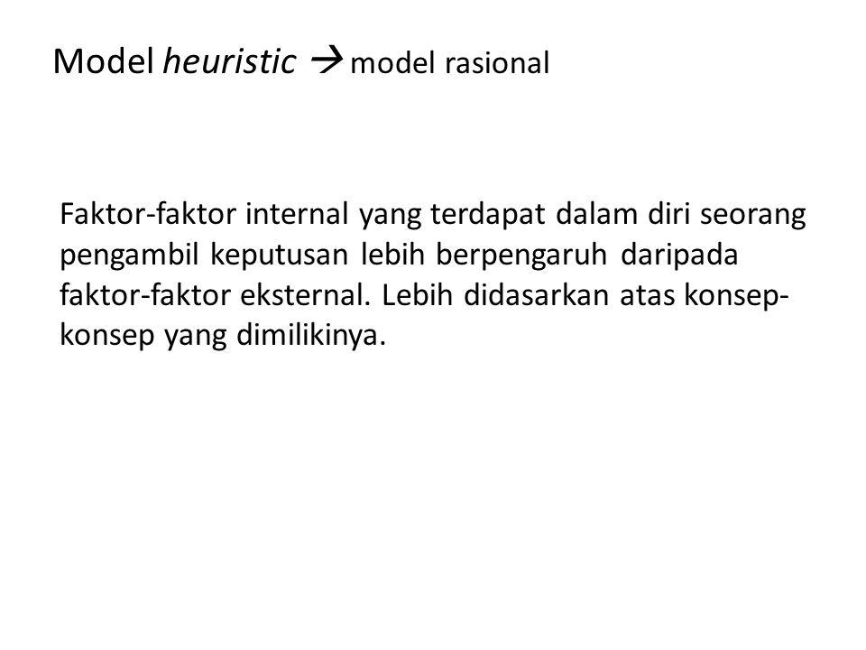 Model heuristic  model rasional Faktor-faktor internal yang terdapat dalam diri seorang pengambil keputusan lebih berpengaruh daripada faktor-faktor