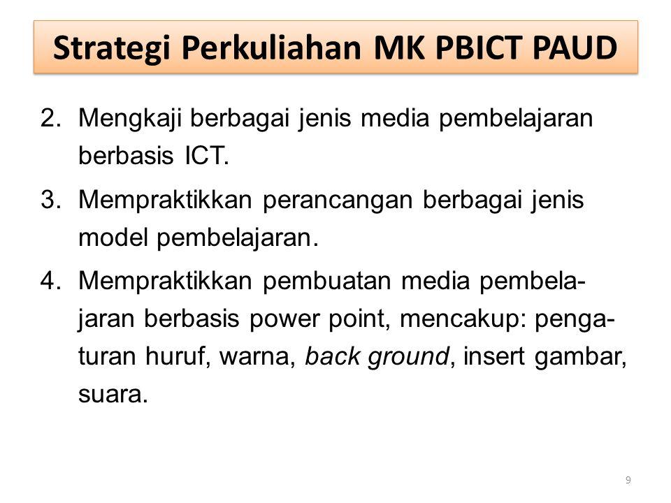 Strategi Perkuliahan MK PBICT PAUD 2.Mengkaji berbagai jenis media pembelajaran berbasis ICT. 3.Mempraktikkan perancangan berbagai jenis model pembela