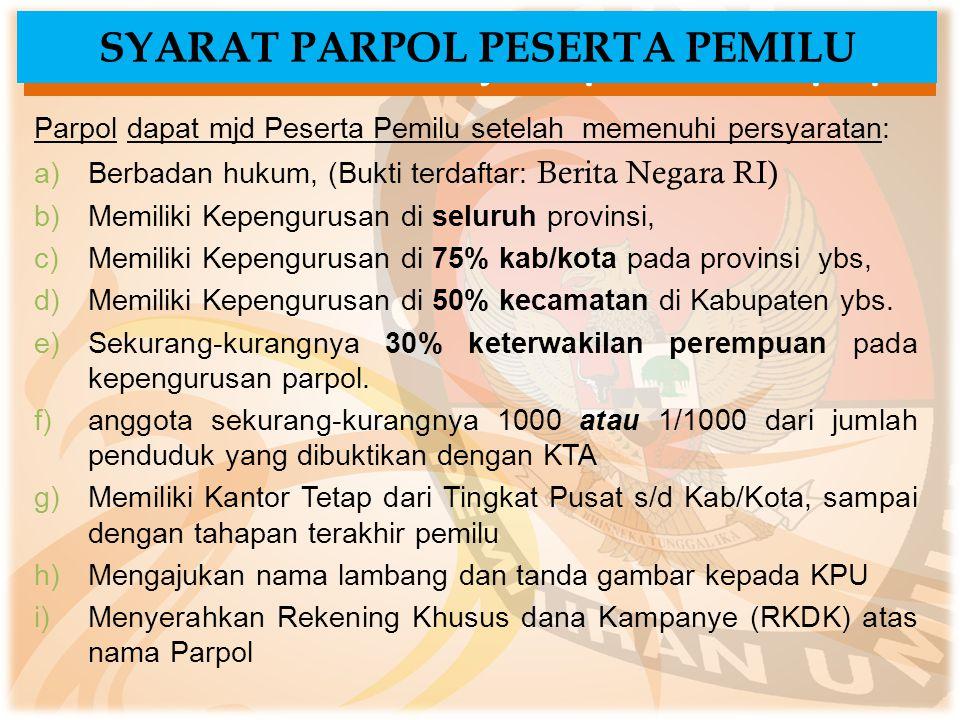 ..Lanjutan pendaftaran parpol Parpol dapat mjd Peserta Pemilu setelah memenuhi persyaratan: a)Berbadan hukum, (Bukti terdaftar: Berita Negara RI) b)Me
