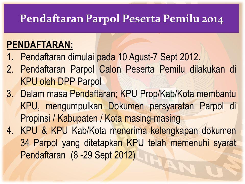 PENDAFTARAN: 1.Pendaftaran dimulai pada 10 Agust-7 Sept 2012. 2.Pendaftaran Parpol Calon Peserta Pemilu dilakukan di KPU oleh DPP Parpol 3.Dalam masa