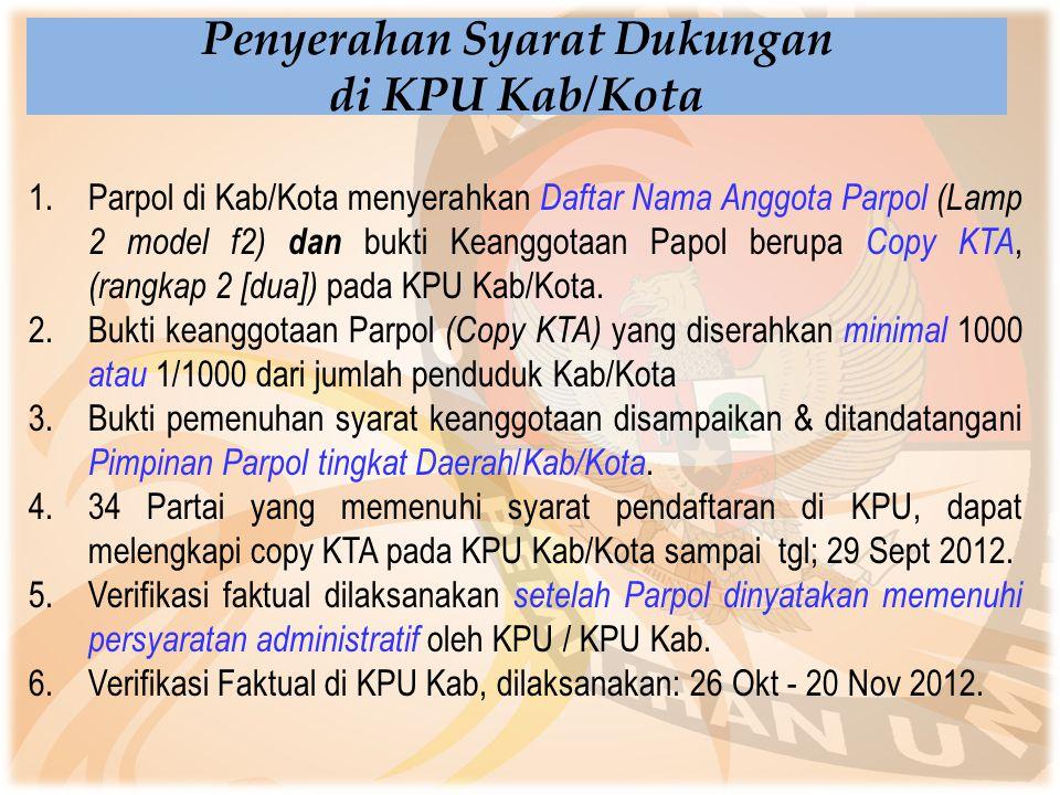 1.Parpol di Kab/Kota menyerahkan Daftar Nama Anggota Parpol (Lamp 2 model f2) dan bukti Keanggotaan Papol berupa Copy KTA, (rangkap 2 [dua]) pada KPU
