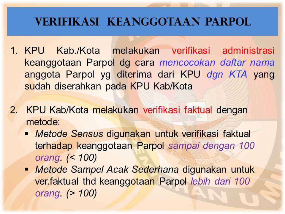 1.KPU Kab./Kota melakukan verifikasi administrasi keanggotaan Parpol dg cara mencocokan daftar nama anggota Parpol yg diterima dari KPU dgn KTA yang s