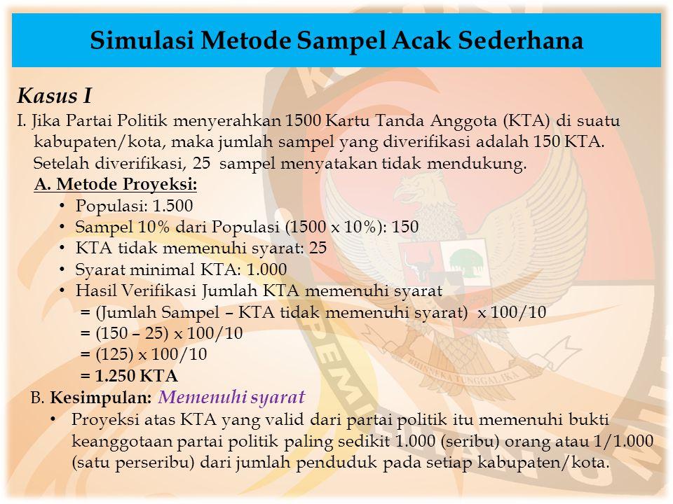 Simulasi Metode Sampel Acak Sederhana Kasus I I. Jika Partai Politik menyerahkan 1500 Kartu Tanda Anggota (KTA) di suatu kabupaten/kota, maka jumlah s
