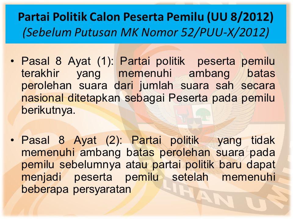 Partai Politik Calon Peserta Pemilu (UU 8/2012) (Sebelum Putusan MK Nomor 52/PUU-X/2012) Pasal 8 Ayat (1): Partai politik peserta pemilu terakhir yang