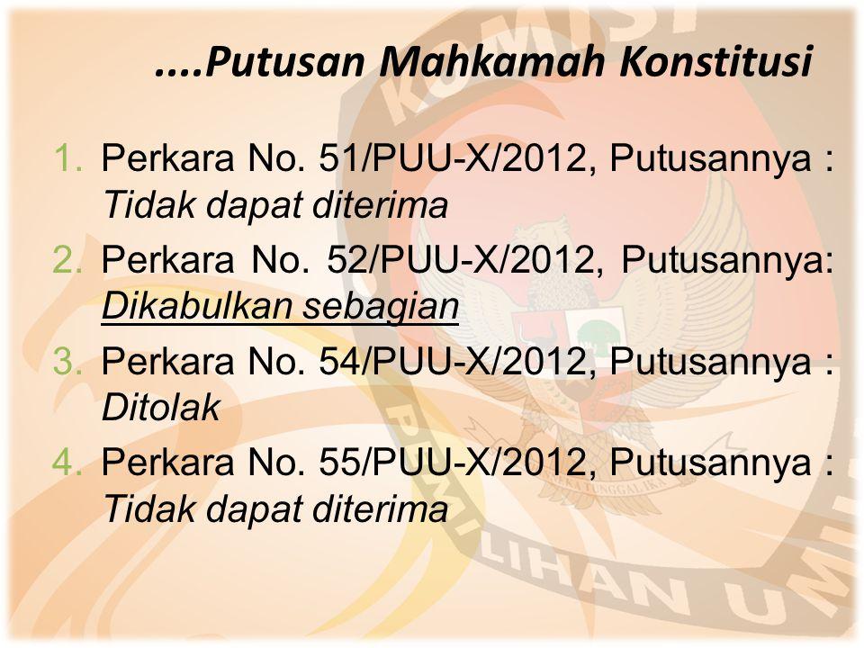 ....Putusan Mahkamah Konstitusi 1.Perkara No. 51/PUU-X/2012, Putusannya : Tidak dapat diterima 2.Perkara No. 52/PUU-X/2012, Putusannya: Dikabulkan seb