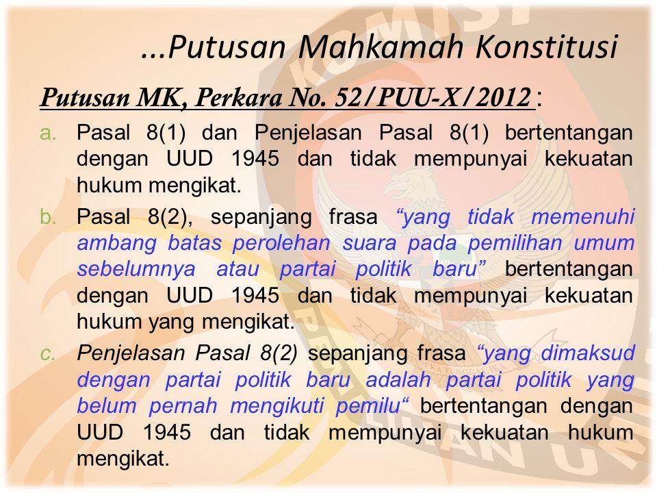 ...Putusan Mahkamah Konstitusi Putusan MK, Perkara No. 52/PUU-X/2012 : a.Pasal 8(1) dan Penjelasan Pasal 8(1) bertentangan dengan UUD 1945 dan tidak m