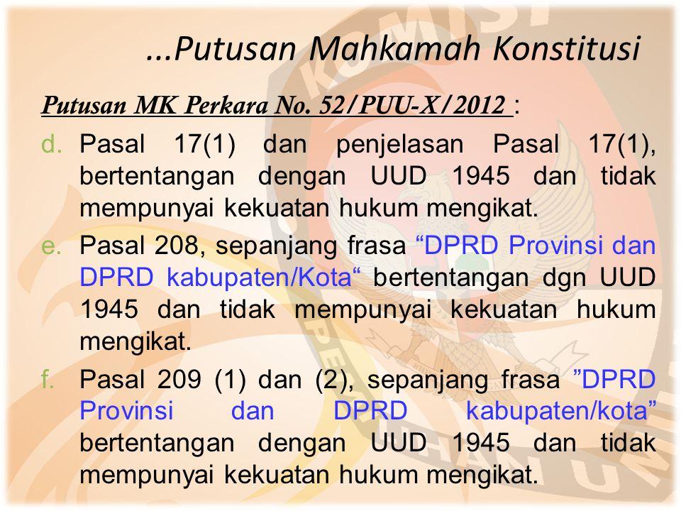 ...Putusan Mahkamah Konstitusi Putusan MK Perkara No. 52/PUU-X/2012 : d.Pasal 17(1) dan penjelasan Pasal 17(1), bertentangan dengan UUD 1945 dan tidak