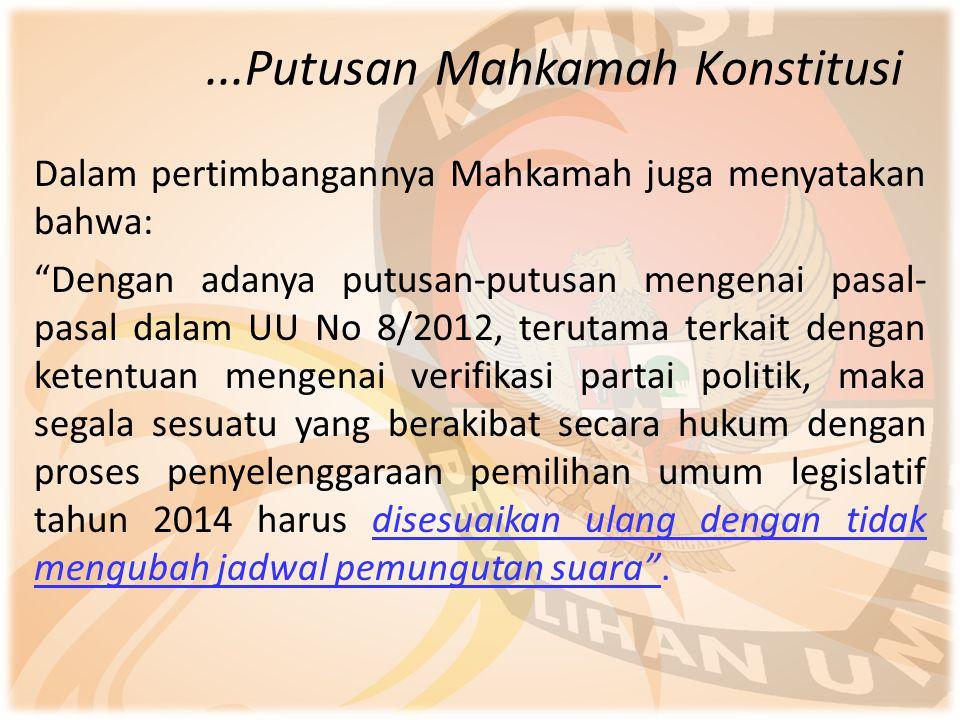 """...Putusan Mahkamah Konstitusi Dalam pertimbangannya Mahkamah juga menyatakan bahwa: """"Dengan adanya putusan-putusan mengenai pasal- pasal dalam UU No"""