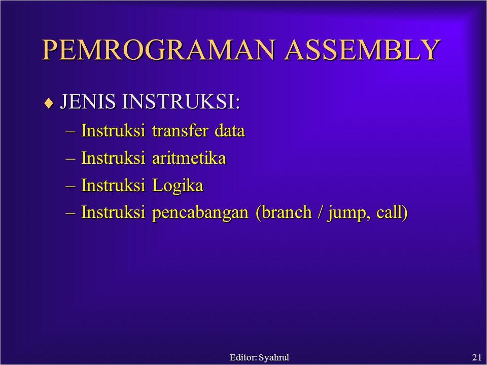 Editor: Syahrul21 PEMROGRAMAN ASSEMBLY  JENIS INSTRUKSI: –Instruksi transfer data –Instruksi aritmetika –Instruksi Logika –Instruksi pencabangan (branch / jump, call)