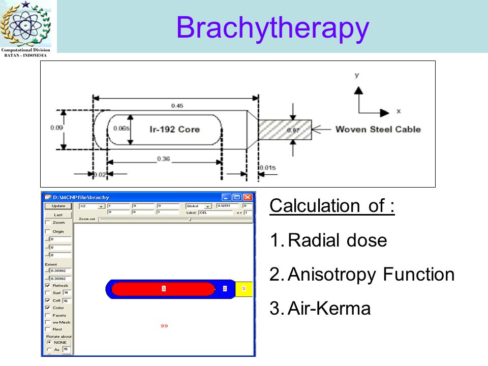 Brachytherapy Calculation of : 1.Radial dose 2.Anisotropy Function 3.Air-Kerma