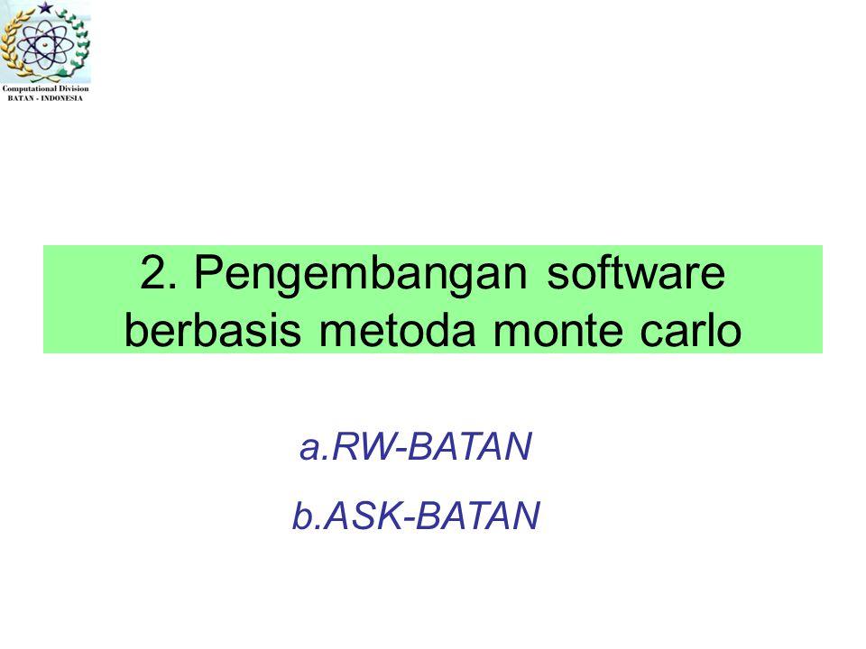 2. Pengembangan software berbasis metoda monte carlo a.RW-BATAN b.ASK-BATAN