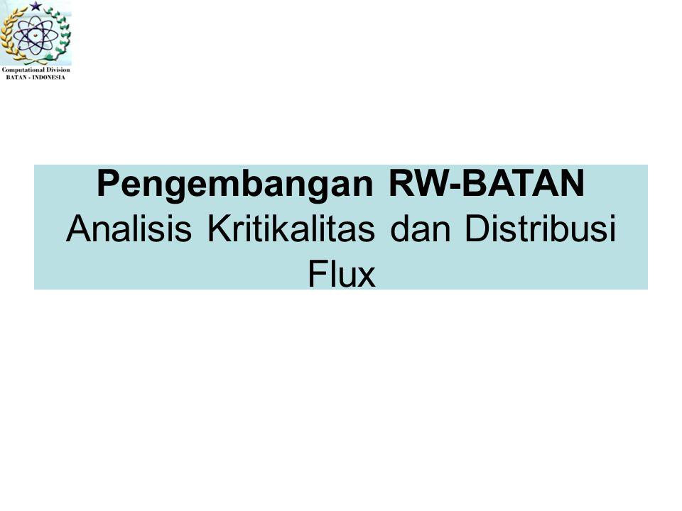 Pengembangan RW-BATAN Analisis Kritikalitas dan Distribusi Flux