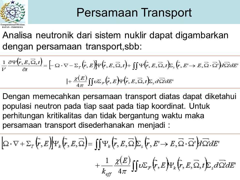 Persamaan Transport Analisa neutronik dari sistem nuklir dapat digambarkan dengan persamaan transport,sbb: Dengan memecahkan persamaan transport diatas dapat diketahui populasi neutron pada tiap saat pada tiap koordinat.