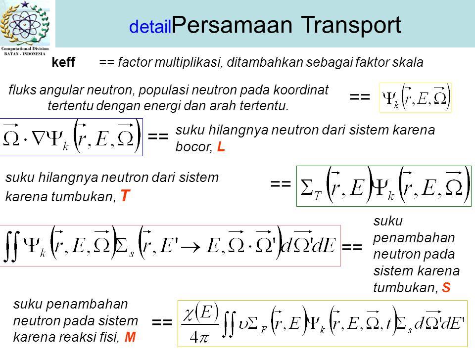 detail Persamaan Transport keff== factor multiplikasi, ditambahkan sebagai faktor skala fluks angular neutron, populasi neutron pada koordinat tertentu dengan energi dan arah tertentu.