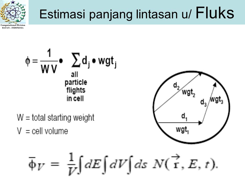 Estimasi panjang lintasan u/ Fluks