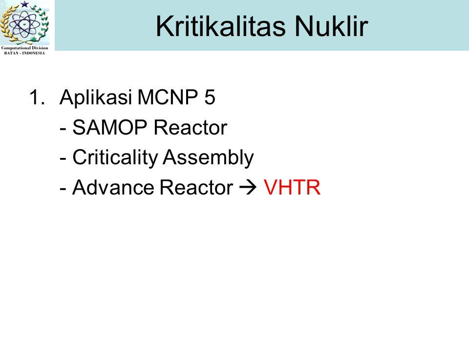 1.Aplikasi MCNP 5 - SAMOP Reactor - Criticality Assembly - Advance Reactor  VHTR Kritikalitas Nuklir