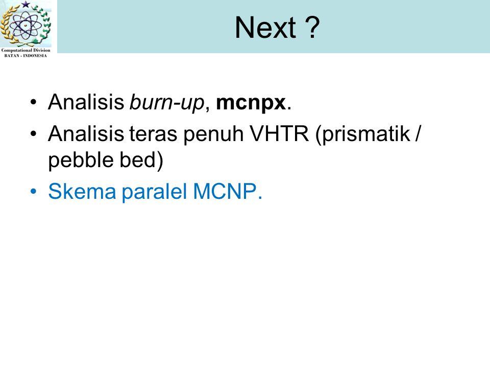 Analisis burn-up, mcnpx.Analisis teras penuh VHTR (prismatik / pebble bed) Skema paralel MCNP.