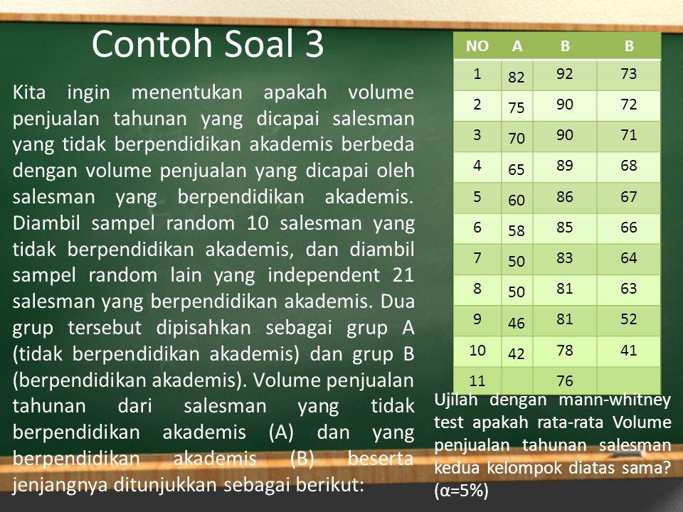 Contoh Soal 3 Kita ingin menentukan apakah volume penjualan tahunan yang dicapai salesman yang tidak berpendidikan akademis berbeda dengan volume penj