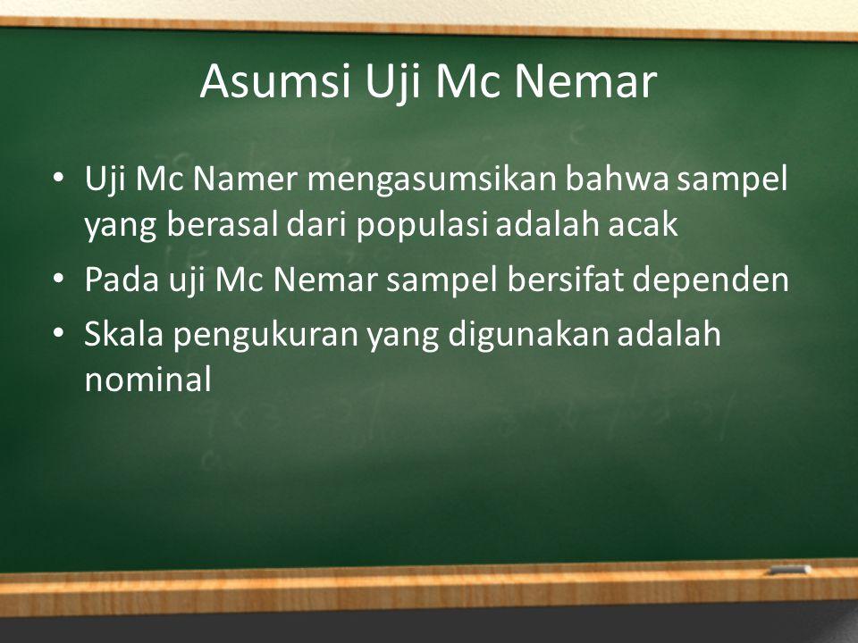 Asumsi Uji Mc Nemar Uji Mc Namer mengasumsikan bahwa sampel yang berasal dari populasi adalah acak Pada uji Mc Nemar sampel bersifat dependen Skala pe