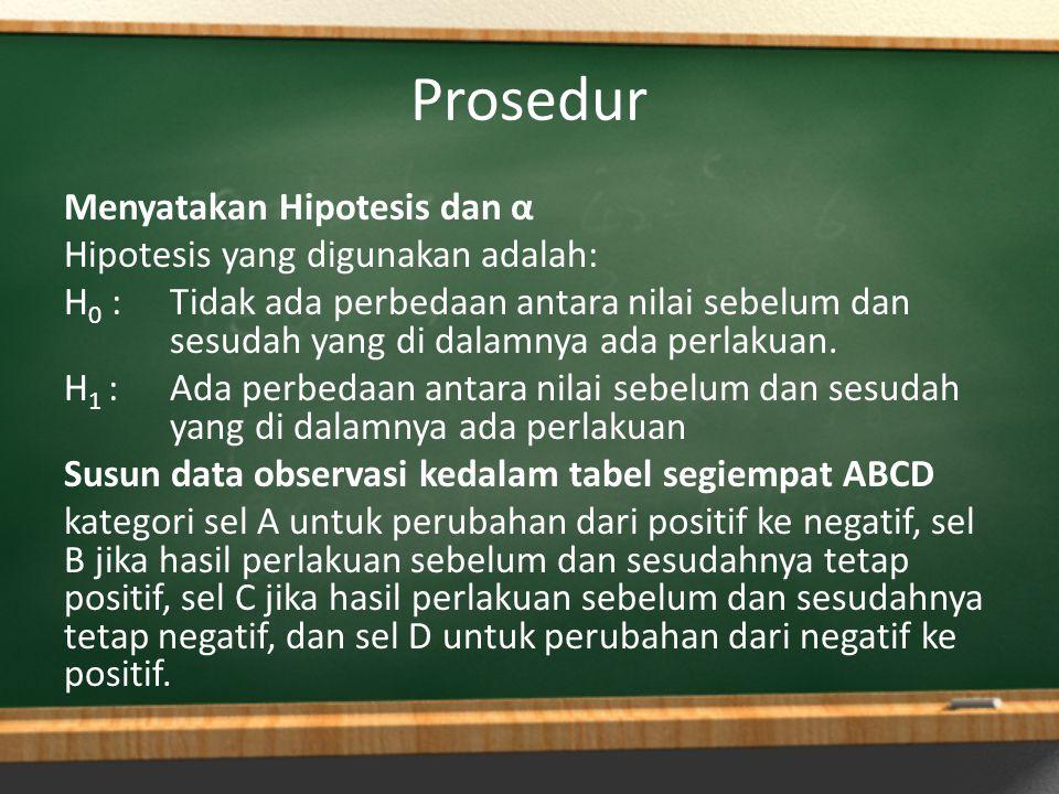 Prosedur Menyatakan Hipotesis dan α Hipotesis yang digunakan adalah: H 0 :Tidak ada perbedaan antara nilai sebelum dan sesudah yang di dalamnya ada pe